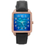 Blue Sky Jpeg Rose Gold Leather Watch  Front