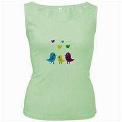 Bird family Women s Green Tank Top