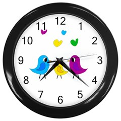 Bird family Wall Clocks (Black)