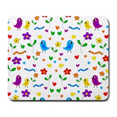Cute birds and flowers pattern Large Mousepads