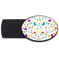 Cute birds and flowers pattern USB Flash Drive Oval (2 GB)