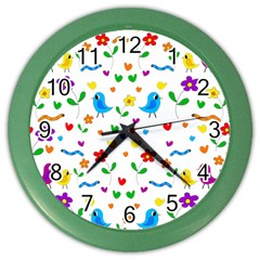Cute birds and flowers pattern Color Wall Clocks