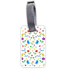 Cute birds and flowers pattern Luggage Tags (One Side)