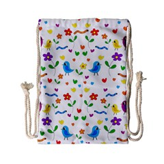 Cute birds and flowers pattern Drawstring Bag (Small)