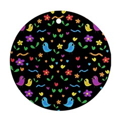Cute birds and flowers pattern - black Ornament (Round)