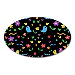 Cute birds and flowers pattern - black Oval Magnet