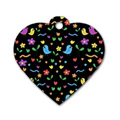 Cute birds and flowers pattern - black Dog Tag Heart (Two Sides)