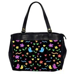 Cute birds and flowers pattern - black Office Handbags (2 Sides)