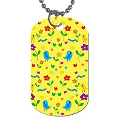 Yellow cute birds and flowers pattern Dog Tag (One Side)