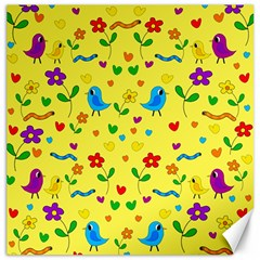Yellow cute birds and flowers pattern Canvas 16  x 16