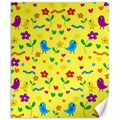 Yellow cute birds and flowers pattern Canvas 20  x 24