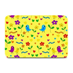 Yellow cute birds and flowers pattern Plate Mats