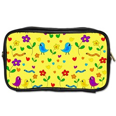 Yellow cute birds and flowers pattern Toiletries Bags