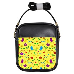 Yellow cute birds and flowers pattern Girls Sling Bags
