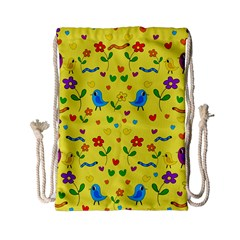 Yellow Cute Birds And Flowers Pattern Drawstring Bag (small)
