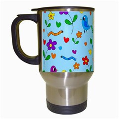 Blue cute birds and flowers  Travel Mugs (White)