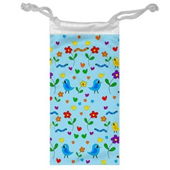 Blue cute birds and flowers  Jewelry Bag