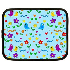 Blue cute birds and flowers  Netbook Case (Large)