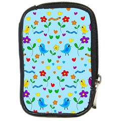 Blue Cute Birds And Flowers  Compact Camera Cases