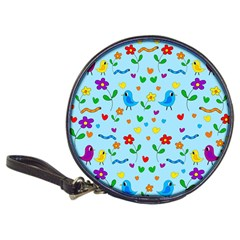 Blue Cute Birds And Flowers  Classic 20 Cd Wallets