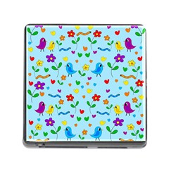 Blue cute birds and flowers  Memory Card Reader (Square)