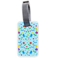 Blue cute birds and flowers  Luggage Tags (One Side)