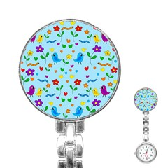 Blue Cute Birds And Flowers  Stainless Steel Nurses Watch