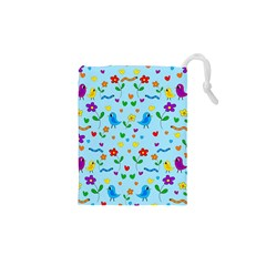 Blue cute birds and flowers  Drawstring Pouches (XS)