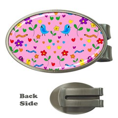 Pink cute birds and flowers pattern Money Clips (Oval)