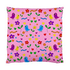 Pink cute birds and flowers pattern Standard Cushion Case (Two Sides)
