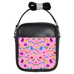 Pink cute birds and flowers pattern Girls Sling Bags