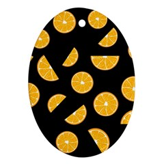 Oranges pattern - black Ornament (Oval)