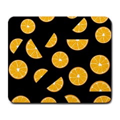 Oranges pattern - black Large Mousepads
