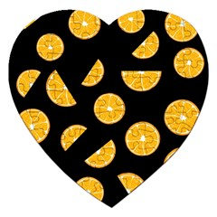 Oranges pattern - black Jigsaw Puzzle (Heart)