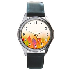 Autumn Leaves Colorful Fall Foliage Round Metal Watch
