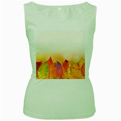 Autumn Leaves Colorful Fall Foliage Women s Green Tank Top