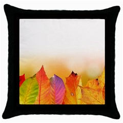 Autumn Leaves Colorful Fall Foliage Throw Pillow Case (black)
