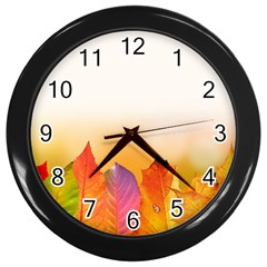 Autumn Leaves Colorful Fall Foliage Wall Clocks (black)