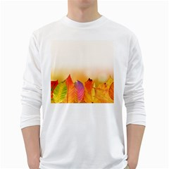 Autumn Leaves Colorful Fall Foliage White Long Sleeve T Shirts