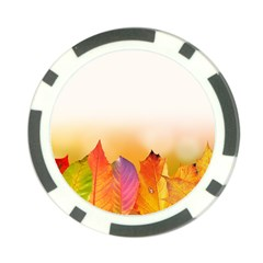 Autumn Leaves Colorful Fall Foliage Poker Chip Card Guards