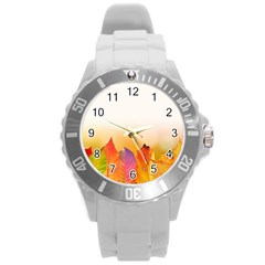 Autumn Leaves Colorful Fall Foliage Round Plastic Sport Watch (l)