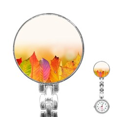 Autumn Leaves Colorful Fall Foliage Stainless Steel Nurses Watch