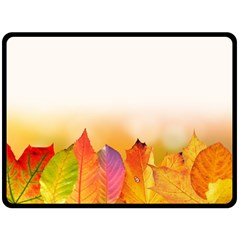 Autumn Leaves Colorful Fall Foliage Double Sided Fleece Blanket (large)