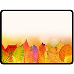 Autumn Leaves Colorful Fall Foliage Double Sided Fleece Blanket (Large)  80 x60 Blanket Front