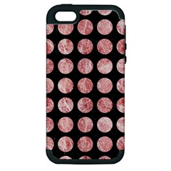 Circles1 Black Marble & Red & White Marble Apple Iphone 5 Hardshell Case (pc+silicone)