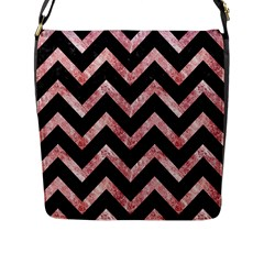 Chevron9 Black Marble & Red & White Marble Flap Closure Messenger Bag (l)