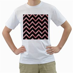 Chevron9 Black Marble & Red & White Marble Men s T Shirt (white)