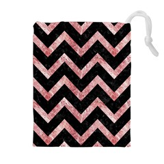 Chevron9 Black Marble & Red & White Marble Drawstring Pouch (xl)