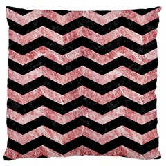 Chevron3 Black Marble & Red & White Marble Large Flano Cushion Case (one Side)