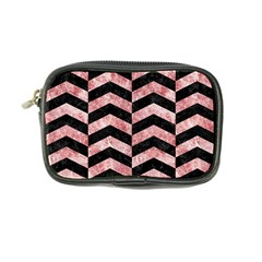 Chevron2 Black Marble & Red & White Marble Coin Purse